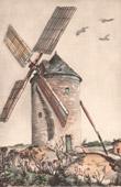 Lithographie von Sammlung Französische Mühlen 61/68 - Windmühle - Montforton - Ternay (Vienne - Frankreich)