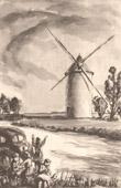 Lithographie von Sammlung Französische Mühlen 65/68 - Windmühle - Bellien - Mazeuil (Vienne - Frankreich)