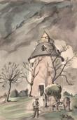 Lithographie von Sammlung Französische Mühlen 66/68 - Windmühle - Bénesse-lès-Dax (Landes - Frankreich)
