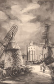 Lithographie von Sammlung Französische Mühlen 67/68 - Windmühle - Caignac (Haute-Garonne - Frankreich)