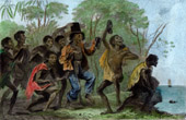 Voyage of James Cook - HMS Endeavour - New Holland - A Native Shows his Gifts - Indigenous Australians (Australia)