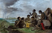 Voyage of James Cook - HMS Endeavour - New Holland - Indigenous Australians in Trinity Bay (Australia)