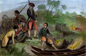 Voyage of James Cook - Moorea - James Cook sets Fire to the Houses and the Dugouts in Eimeo (French Polynesia)