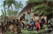 Voyage of James Cook - Sandwich Islands - Offerings of the Natives to the Captain Cook