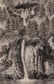 Stich von Beatushöle - Grotte von St-Béat - Wasserfall - Thunersee (Schweiz)