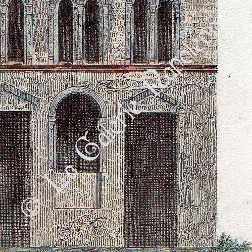 stampe antiche casa del 12 secolo ad cologne germania stampa calcografica 1841. Black Bedroom Furniture Sets. Home Design Ideas