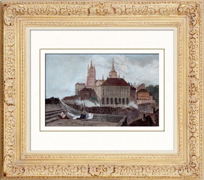 Gravures Anciennes & Dessins | Vue de Lausanne - Hôtel de Ville - Cathédrale (Suisse) | Taille-douce | 1838