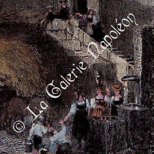 stampe antiche castello di wuflens canton vaud svizzera stampa calcografica 1838. Black Bedroom Furniture Sets. Home Design Ideas