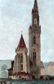 View of Thann - Saint Theobald Collegiate Church - Alsace (France)