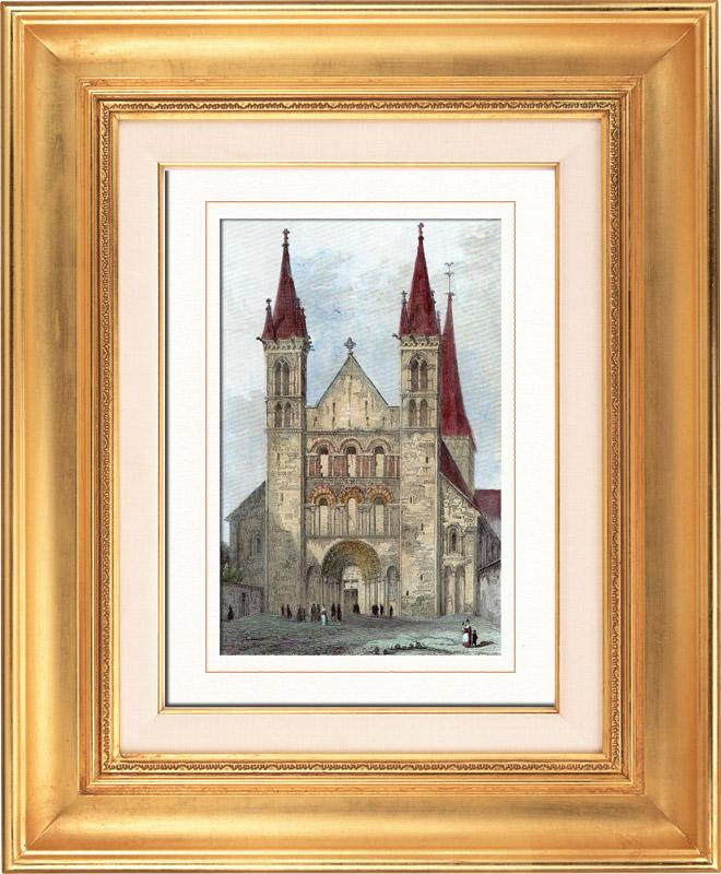 antika tryck abbotskloster av sankt g ran de boscherville i saint martin de boscherville. Black Bedroom Furniture Sets. Home Design Ideas