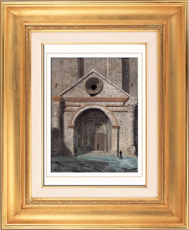 Gravures Anciennes & Dessins | Cathédrale Notre-Dame des Doms d'Avignon - Vaucluse - Provence-Alpes-Côte d'Azur (France) | Taille-douce | 1841