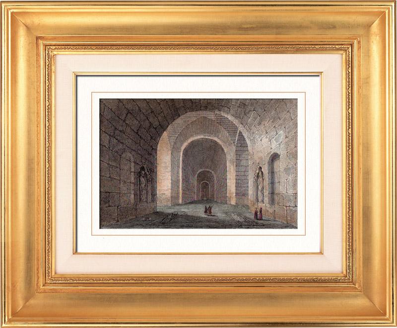 grabados antiguos abbaye saint m dard en soissons picard a francia grabado en talla. Black Bedroom Furniture Sets. Home Design Ideas