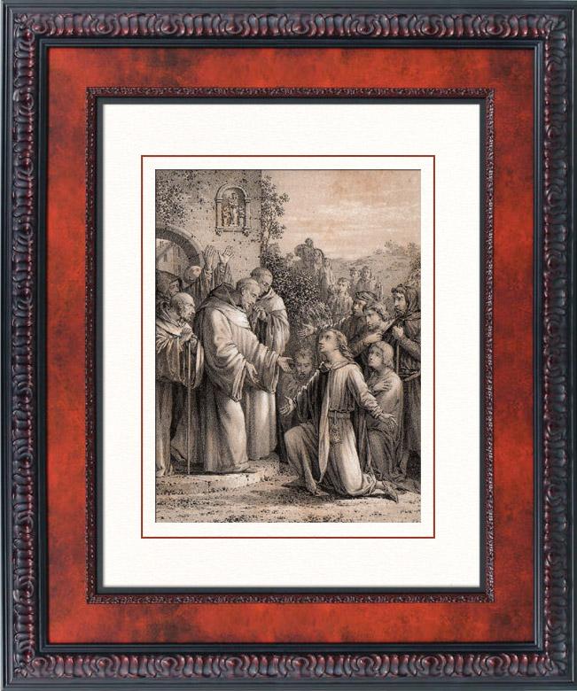 Antique Prints & Drawings   Saint Bernard of Clairvaux - Order of Cistercians - 05/20 - Arrivée de St Bernard à Citeaux   Lithography   1850