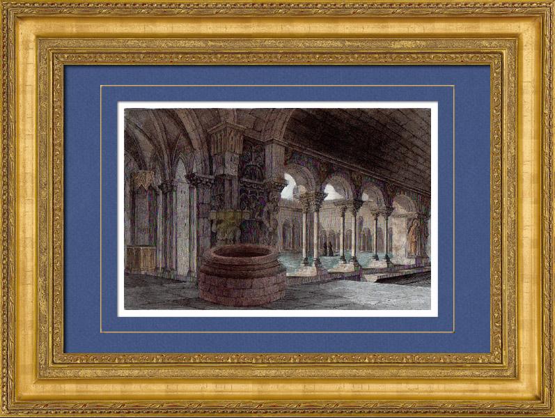 Gravures Anciennes & Dessins | Cloître de la Cathédrale Saint-Trophime d'Arles - Provence-Alpes-Côte d'Azur (France) | Taille-douce | 1842