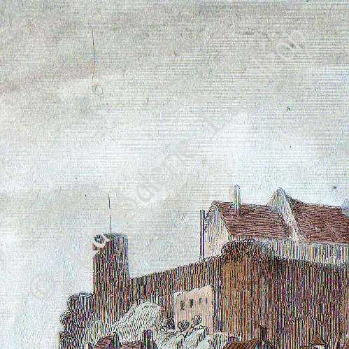 gravures anciennes ch teau d 39 angers maine et loire france gravure en taille douce 1842. Black Bedroom Furniture Sets. Home Design Ideas