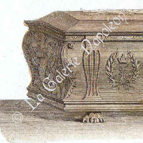 alte stiche sarg von friedrich ii von d nemark in roskilde stahlstich 1846. Black Bedroom Furniture Sets. Home Design Ideas