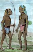 Stich von Vanikoro - Porträten von Indigen Völker - Santa-Cruz-Inseln
