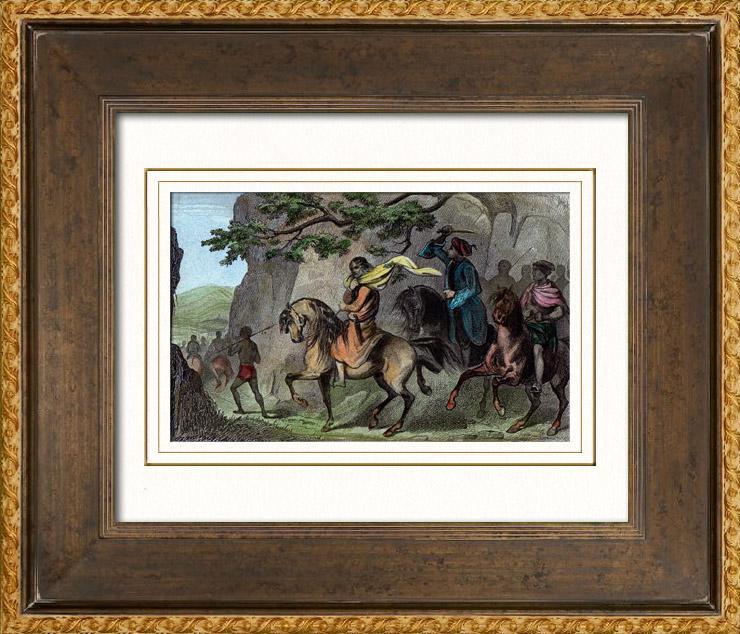 Gravures Anciennes & Dessins | Accident Arrivé au Roi d'Abyssinie (Ethiopie) | Taille-douce | 1842