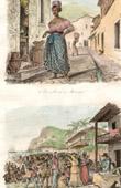 Stich von Eine Straße von Martinique (Französisch Übersee-Departement) - Markt für Sklaven - Sklaverei innerhalb