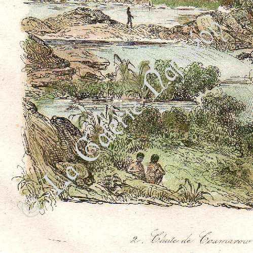 Stampe antiche stampa di fiume maroni cascate de for Stampe di campagna francese