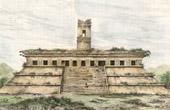 Stich von Tempel zu Palenque - Stadt der Maya (Mexiko)