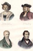 Portraits of Christopher Columbus (1451-1506) - Guillaume Penne (1644-1718) - Alexander von Humboldt (1769-1859) - Alcide D'Orbigny (1802-1857)