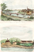 View of Saint-Hyacinthe - Quebec - Barracks and Market in Frederick-Town - New Brunswick (Canada)