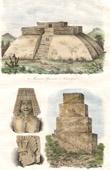Stich von Mexiko - Tehuantepec - Pyramiden - Skulpturen