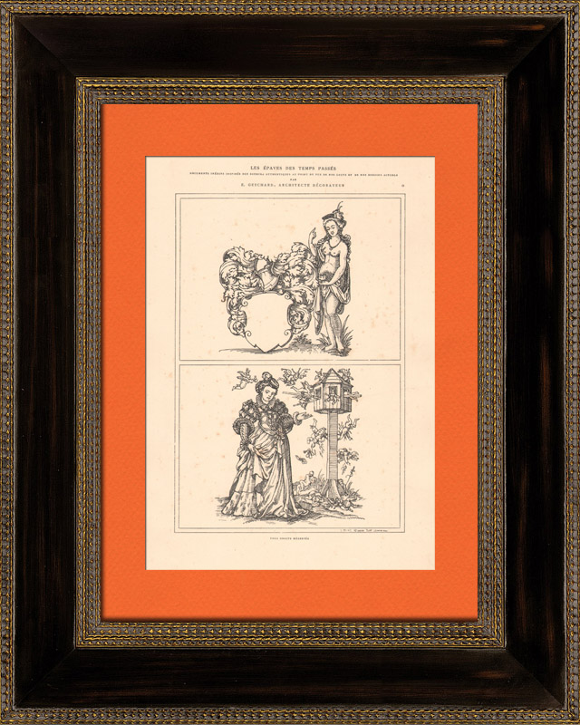 Antique Prints & Drawings   Decoration - Illustration - Ancient Rome - Costumes of women - Mode - Fashion - Allegory - 16th Century - XVIth Century (Jost Amman)   Intaglio print   1870