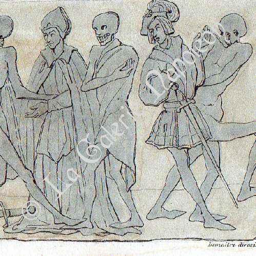 Gravures anciennes danse macabre abbaye de la chaise for Chaise dieu danse macabre