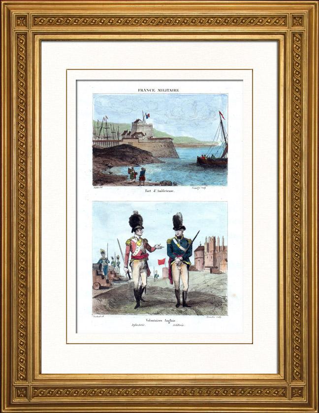 Gravures anciennes vue du fort mahon ambleteuse france uniforme de soldats anglais - Certificat d heredite avec porte fort ...