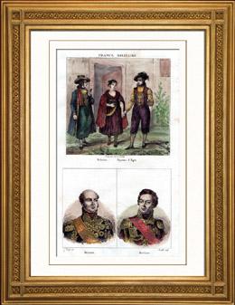 Traditionelle Kleidung von Böhmen - Bauer - Egra (Tschechien) - Porträts von Davout (1770-1823) - Berthier (1753-1815)