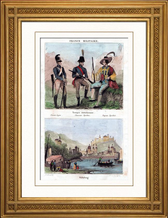 Gravures Anciennes & Dessins | Costume Tyrolien - Mode Tyrolienne - Tyrol - Uniforme Militaire - Paysan - Chevau-Légers - Vue de Salzbourg (Autriche) | Taille-douce | 1836