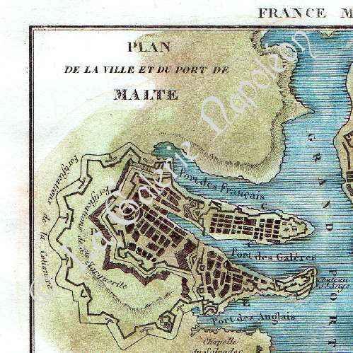 Gravures anciennes gravure de plan de malte ville port for Plan de malte