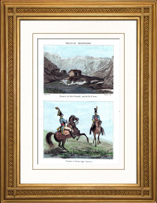 Gravures Anciennes & Dessins | Hospice du Grand-Saint-Bernard - Alpes (Suisse) - Uniforme Militaire - Chevau-Légers - Bavière - Cavalerie | Taille-douce | 1836