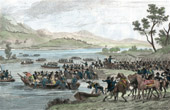 Napoleonic Wars - Diershein - Crossing of the Rhine before the Battle of Diersheim - French Victory under General Moreau against the Austrians under General Staray (1797)