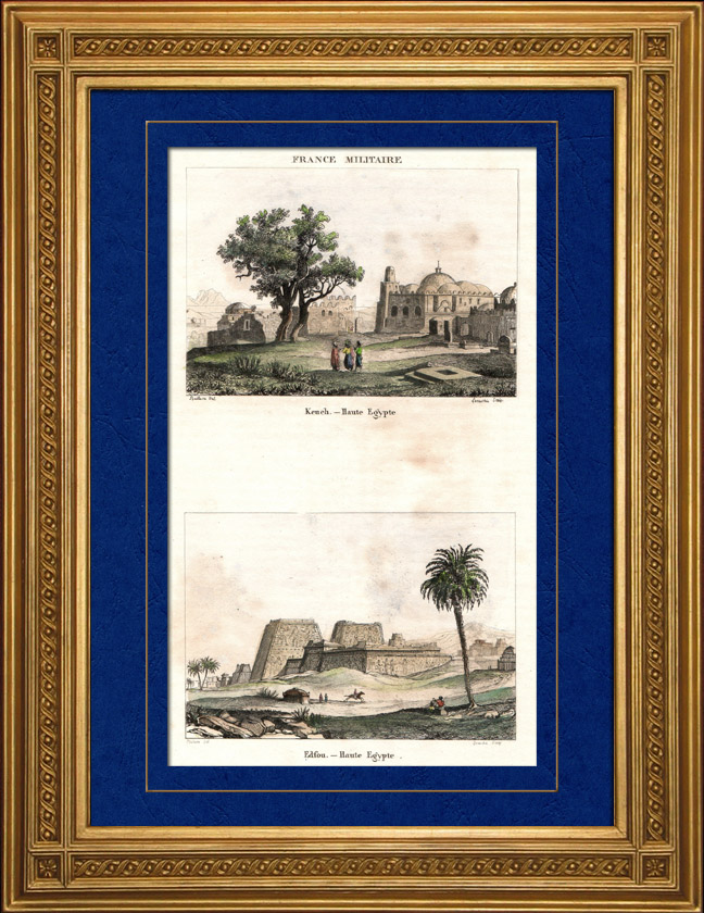 Antique Prints & Drawings | View of Kench - Edfou (Upper Egypt) | Intaglio print | 1835