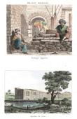Stich von raditionelle Kleidung - Bäcker - Ansicht von aquädukt - Wasserleitung - Kairo (Ägypten)