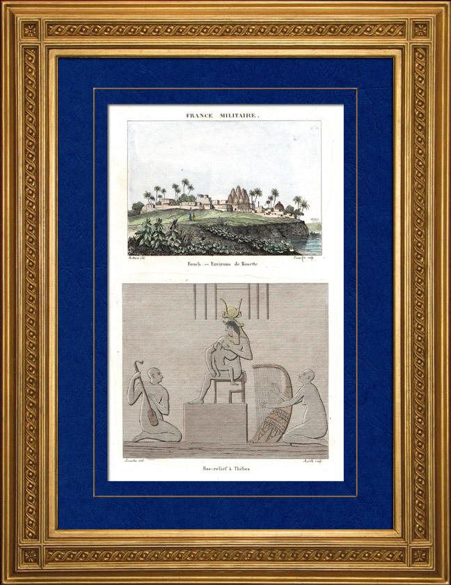 Gravures Anciennes & Dessins | Vue de Rosette - Rachid - Foueh (Egypte) - Bas-reliefs à Thèbes | Taille-douce | 1835