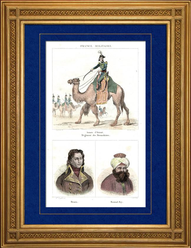 Gravures Anciennes & Dessins | Campagne d'Égypte - Empire Ottoman - Armée d'Orient - Mamelouk - Dromadaire - Portraits - Général Desaix (1768-1800) - Mourad Bey (1750-1801) | Taille-douce | 1835