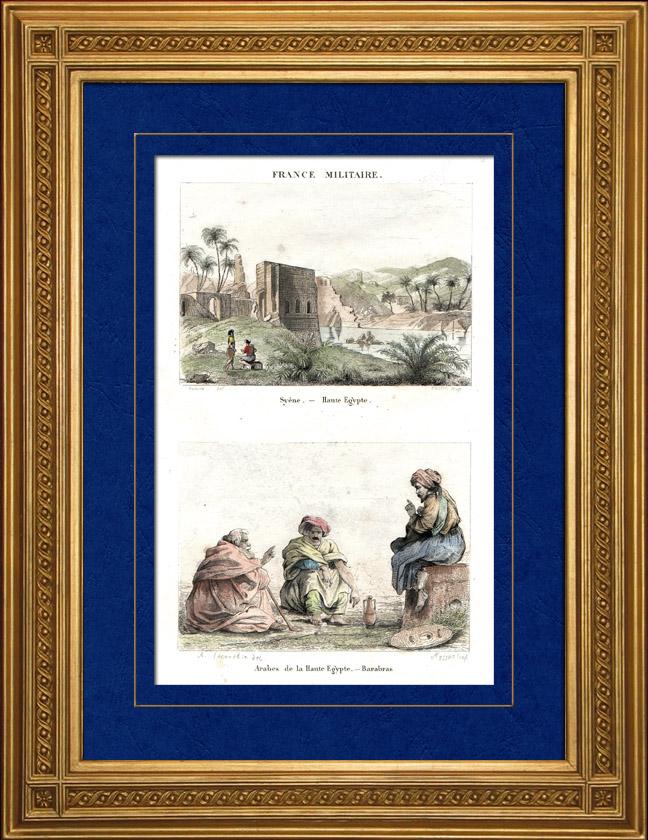 Gravures Anciennes & Dessins   Vue de Assouan - Syène - Arabes - Barabras (Haute-Égypte)   Taille-douce   1835