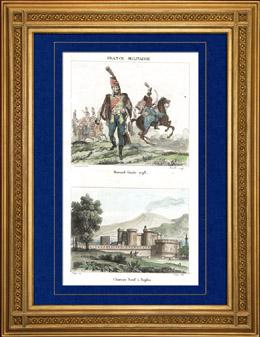 Napoleonischer Soldat - Uniform - Husar - Hussard - Kavallerie (1798) - Ansicht von Castel Nuovo - Neapel (Italien)
