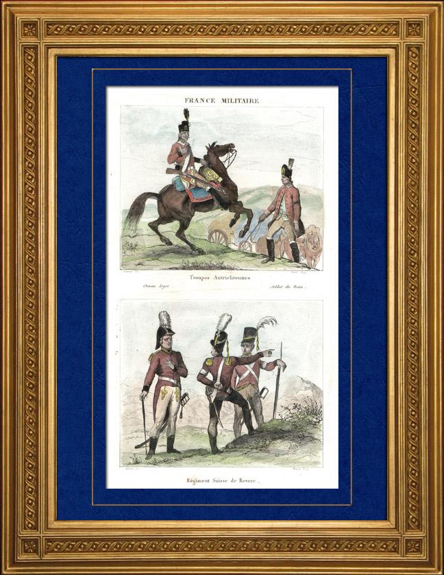 Antique Prints & Drawings   Austrian Army - Costume - Uniform - Chevau-Légers - Swiss Regiment of Rovere   Intaglio print   1835