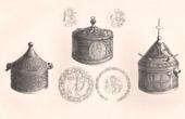 Lithographie von Liturgisches Geräten - Pyxis - Bronze - Byzantinische Kunst