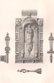 Lithographie von Altsachen - Religiösekunst - Französisch kunst - Schloss und Schlüssel - XV. Jahrhundert (Frankreich)