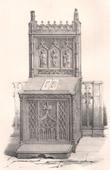 Lithographie von Alti Möbel - Religiösekunst - Französisch kunst - Stuhl - Prie-Dieu