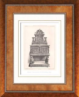 Gravures anciennes lithographie de meubles anciens art for Meuble credence ancienne