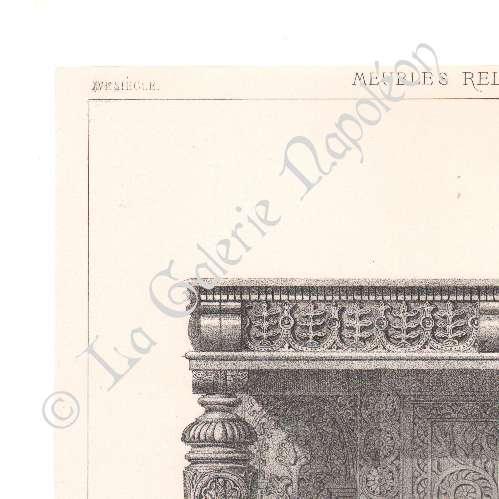 gravures anciennes lithographie de meubles anciens art anglais buffet dressoir bois. Black Bedroom Furniture Sets. Home Design Ideas