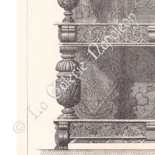 Gravures anciennes lithographie de meubles anciens art anglais buffet - Meubles anglais paris ...