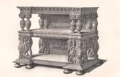 Lithographie von Alti Möbel - Britischer kunst - Anrichte - Dressoir - Skulptiertes Holz